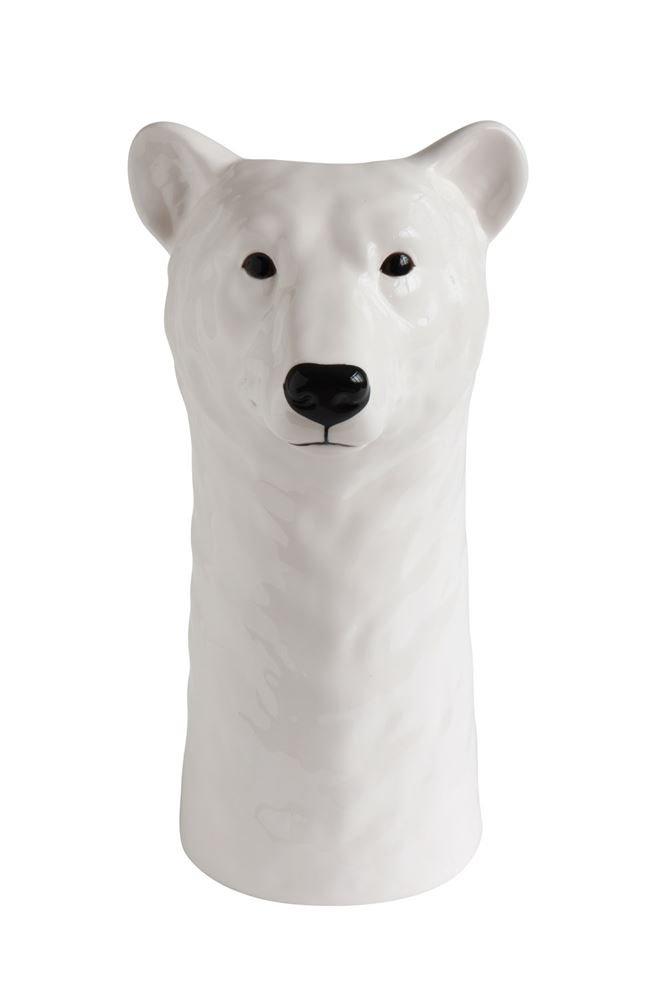 Heart of America Round Stoneware Polar Bear Vase - 2 Pieces