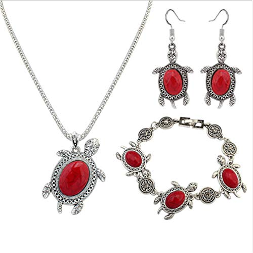 TraveT Vintage Turquoise Turtle Pendant Necklace Earrings Bracelet Set for Women Hook Dangle Drop Earrings Chain Necklace Charm Bracelet Bangle Fashion Jewelry Sets,red
