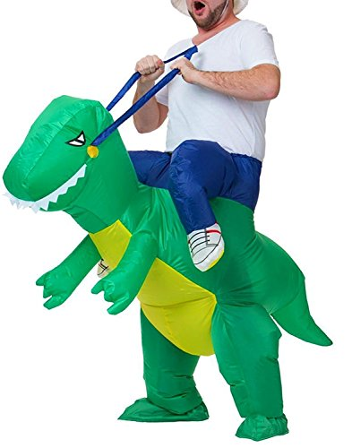 DLMY Inflatable Adult T-REX Dinosaur Halloween Costume Fancy Party Dress Props (One Size Adult, Green)