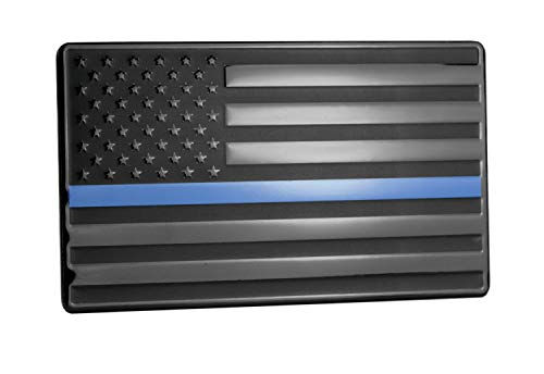 USA American Embossed Stainless Steel Metal Flag for Cars, Trucks Show Support of Police and Law Enforcement Officers Black with Thin Blue Line 5x3