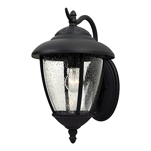 Clear Oxford Seeded Glass (Sea Gull Lighting 84070-12 Lambert Hill One-Light Outdoor Wall Lantern with Clear Seeded Glass Panels, Black Finish)