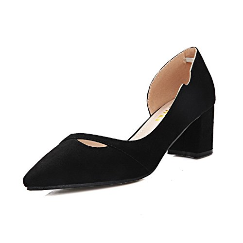 Aalardom Mujer's Imitated Suede Frosted Solid Pull-on, Con Punta Puntiaguda Kitten-heels Pumps-Zapatos Black-hollowout