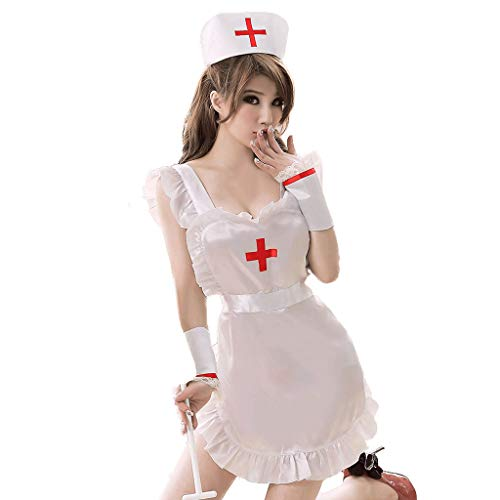 SYF Adult Sexy Hen Party Uniform, Fancy Nurse Costume Dress, Hanging Neck Pajamas G-Shaped Pants Corset Underwear, Sex Life Role-Playing SM Women's White A+ -