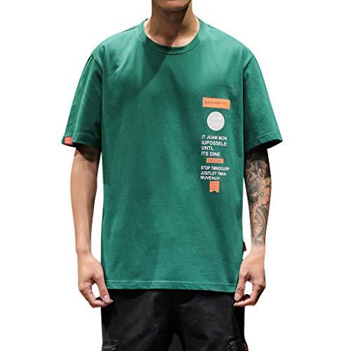 Asos Hipster - Short Sleeve T-Shirt Men's Print Basic Fashion Tee Casual Hipster Crew Neck Tee Green