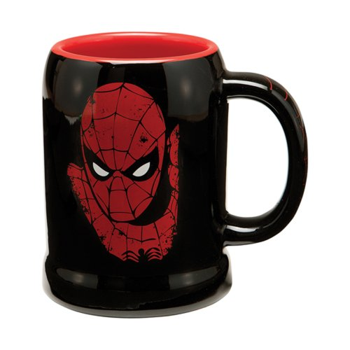 Vandor 26079 Marvel Spider-man 20 oz Ceramic Stein, Black, Red, and (Character Beer Stein)