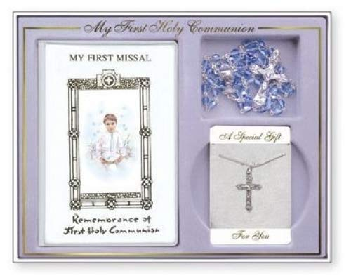 Catholic Gift Shop Ltd Boys Silver Plated Crucifix and Missal Gift Set C5213 First Holy Communion Gifts