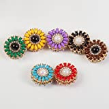 12 pairs Floral Crystals Magnetic Hijab Brooch