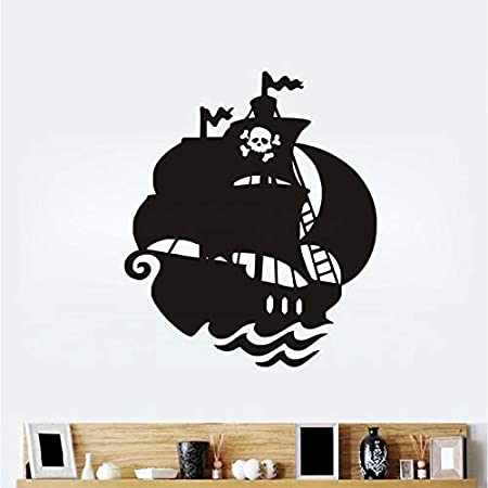 zqyjhkou Barco Pirata de Dibujos Animados Pegatinas de Pared PVC ...