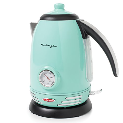 Nostalgia RWK150AQ Retro Stainless Steel Electric Water Kettle, Holds 1.7 Liters, Boil-Dry Protection, 360° Rotating Base, Water Level Indicator Window, Perfect For Tea, Hot Chocolate, Coffee, O