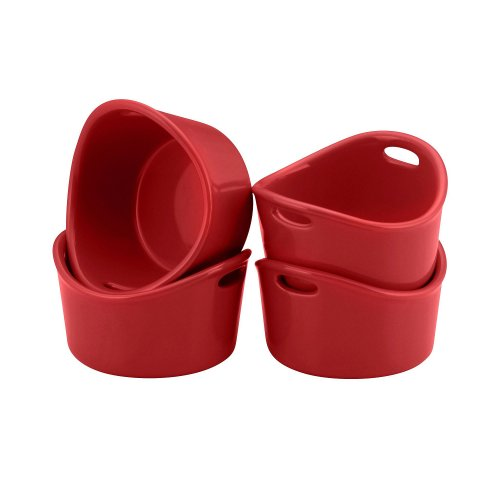 Rachael Ray Singles Stoneware Ramekins, 10-Ounce, Red, Set of 4