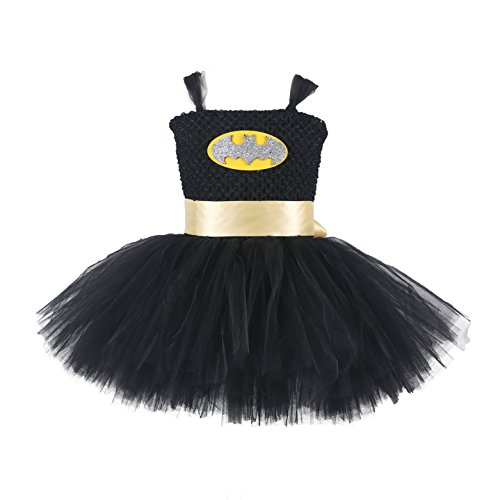 Tutu Dreams Handmade Superhero Tutu Dress For Girls Birthday Party Costume (X-Large(7-8years), Black) for $<!--$23.80-->
