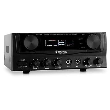 Auna Amplificador estéreo Hifi 2.0 (karaoke, 400 W, 2 conexión micrófono, 2 x entradas RCA, 1 x entrada jack) Negro: Amazon.es: Hogar