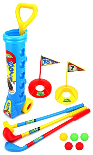 Champion Sport Children Kid's Toy Golf Golfing Playset w/ 5 Balls, 3 Clubs, 2 Practice Holes, 2 Flags (Colors May (Best Velocity Toys Indoor Toys)