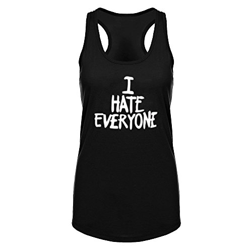 Womens I Hate Everyone Fitness Workout Racerback Tank Tops Black