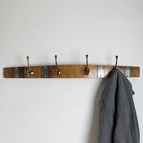 Banded Wine Barrel Coatrack with 4 Classic Brass Hooks by Alpine Wine Design!