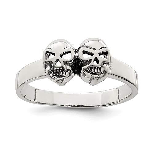 Solid 925 Sterling Silver Men's Antiqued Skull Wedding Band Ring (3mm) ()