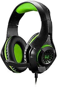 Headset Gamer Warrior Rama P3+USB Stereo Adaptador P2 LED Verde - PH299, Warrior, Microfones e fones de ouvido