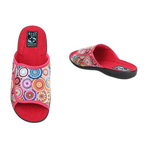 Ital-Design Hausschuhe Damen-Schuhe Pantoffeln Pantoffel Freizeitschuhe Rot Multi, Gr 40, 22219-