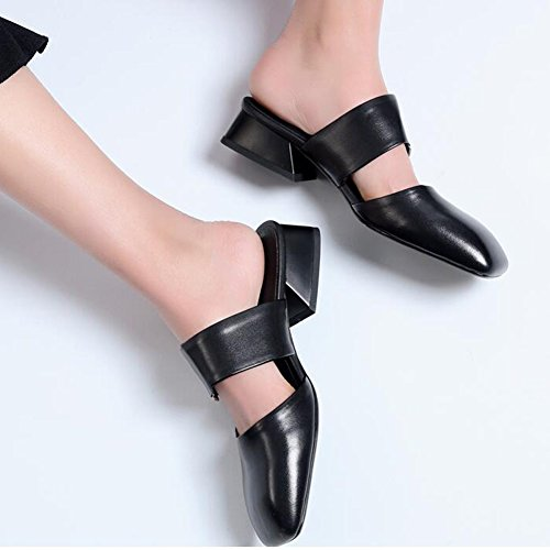 toe Black Shoes CJC Sandals Leather Heel Womens Wearing Daily Closed Mid Ladies 1EPw7qp
