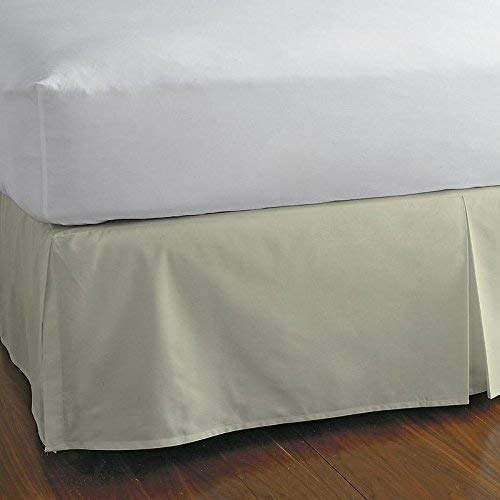 KP Linen Queen Size Split Corner Bed Skirt 15'' Inch Drop - 100% Egyptian Cotton Luxurious & Hypoallergenic Easy to Wash Wrinkle, (Ivory, Queen Size Bed Skirt with 15 inch Drop)