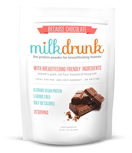 Milk Drunk - Chocolate Protein Powder for Breastfeeding - 20 Servings of Vegan Protein & Lactation-Boosting Ingredients - 18g Protein 5g Fiber 5g Sugar - Oats, Flaxseed, Brewer's Yeast & Fenugreek