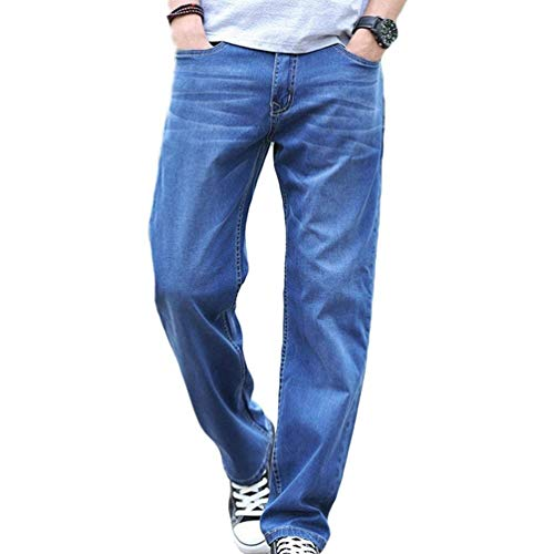 T Denim Mittenblau Gamba Uomo Pantaloni Jeans Dritta A Larghi Allentati Cowboy Semplice Stile Pantalone Lanceyy Casual twZ1q55