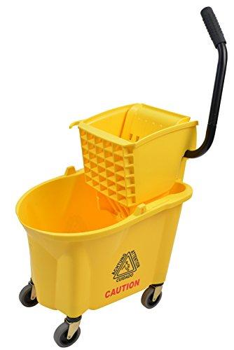 (Janico Inc Mop Bucket Side Press Wringer Combo, 26 Quart 6.5 Gallon, Yellow, 3 Inch Non Marking Metal Casters)