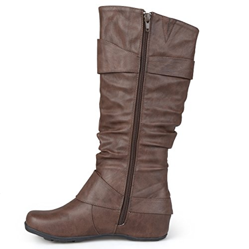 Womens Journee Extra Brown Slouch Wide High Buckle Collection Patent Knee Boots Calf r5qw4rf