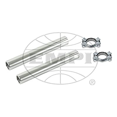 EMPI Stock Chrome Tail Pipe Kit With Clamps, Pair, Compatible With Bug, Beetle, Bus, Ghia, #9915: Automotive