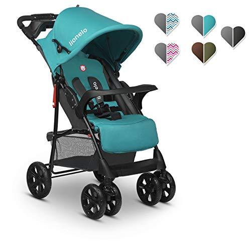 Lionelo Emma Plus - Carrito de bebe ligero y moderno, pequeno, con posicion reclinada, plegable (Vivid Turquoise)