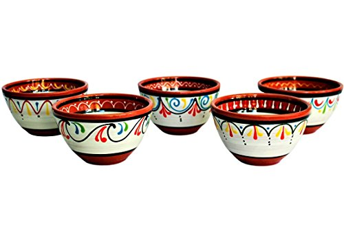 - Terracotta White Breakfast Bowls (European Size), Set of 5 - Hand Painted From Spain