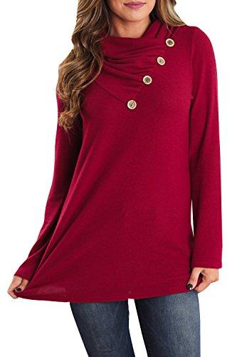 Farktop Women's Long Sleeve Tunic Tops Casual Botton Loose Fitting Sweatshirt Blouse (Loose Fitting Pullover)