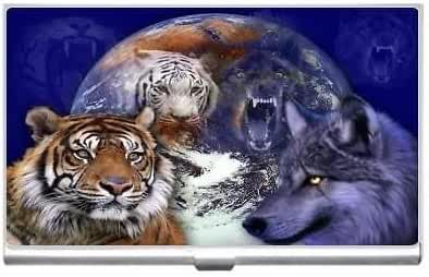 New Tiger With Wolf Business Credit Card Holder Case