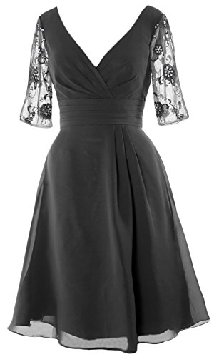 MACloth Women Half Sleeves V Neck Cocktail Dress Short Mother of the Bride Dress (22w, Gray) (Plus Size 90s Fancy Dress)