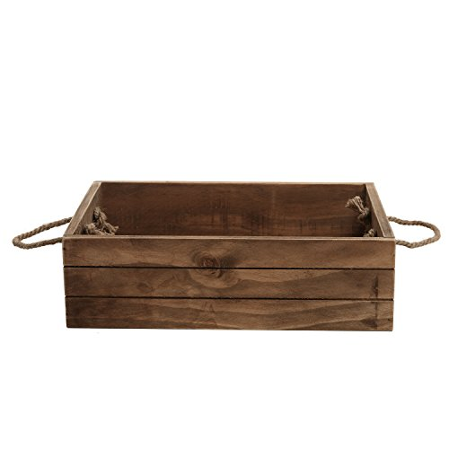 Rustic Style Wood Storage Crate, Open Top Organizer Bin with Rope Handles, Brown by MyGift (Image #3)