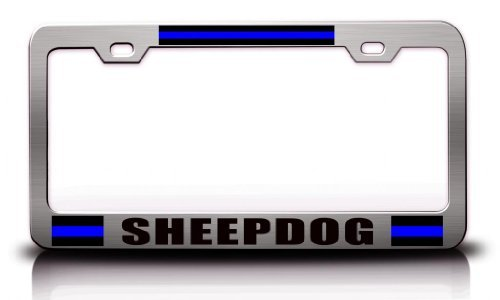 License Plate Covers Sheepdog Police Cop Steel Metal Chrome License Plate Frame