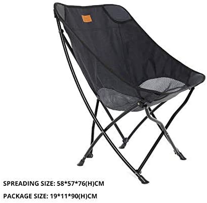 Outdoor Folding Chair Camping Mesh Breathable Lightweight Portable Solid Chair for Picnic Bbq Beach Vacation-Black