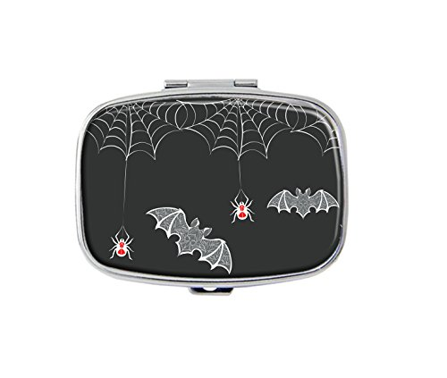 Web dangling spiders and bats carved Custom Fashion Silver Square Pill Box Medicine Tablet Holder Wallet Organizer Case for Pocket or (Dangling Spider Web)
