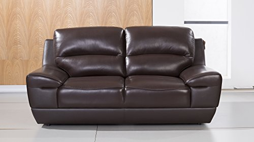 American Eagle Furniture Stratton Collection Italian Grain Leather Living Room Loveseat with Pillow Top Armrests, Dark Brown