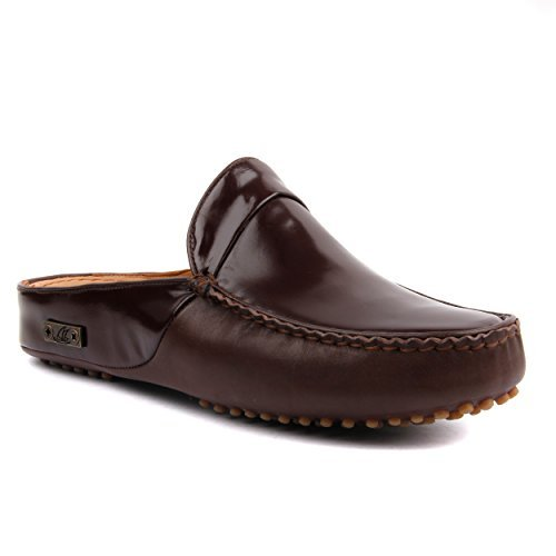 Ebsem Men's All Leather Slippers Home Office Clog Comfort Casual Slip on Loafer Driving Shoes Backless Oxford Slip-on Rubber Pebbles (10-10.5 US / 42 EU, Brown Patent) ()
