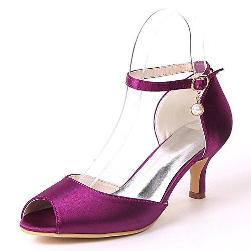 Tamaño yc Dama Honor Bajos De Zapatos Mujeres Purple Las Boda Perlas Colgante Toe Plataforma peep L Fiesta Talones 4BqSxnPwS