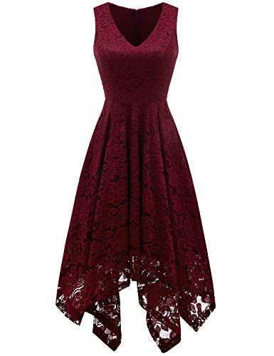 (MEETJEN Women's Vintage Floral Lace Dress Handkerchief Hem Asymmetrical Cocktail Formal Swing Dress Burgundy S)