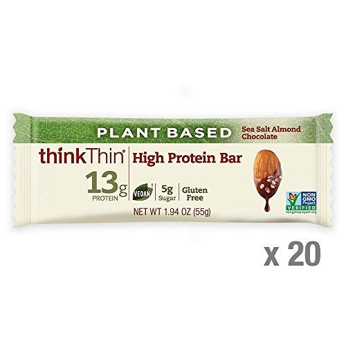 thinkThin High Protein Plant-Based Bars, Sea Salt Almond Chocolate, 1.94 Ounce (20 Count)