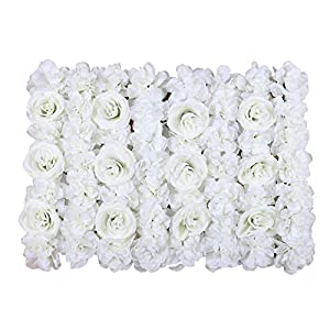 Duovlo Artificial Silk Rose Flower Panels Wall Decoration 1.95ft x 1.31ft Wedding Backdrops Event Party Baby Showers Arrangment (Milk White) 60
