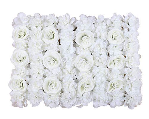 Duovlo Artificial Silk Rose Flower Panels Wall Decoration 1.95ft x 1.31ft Wedding Backdrops Event Party Baby Showers Arrangment (Milk White) (Arrangment)