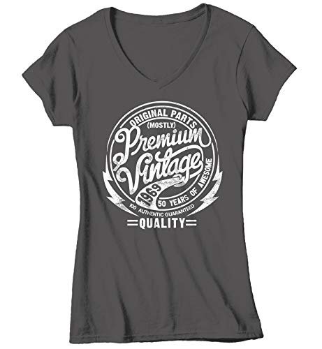 Shirts By Sarah Women's Premium Vintage Made in 1969 T-Shirt Retro Birthday Tee (Charcoal V-Neck Small)