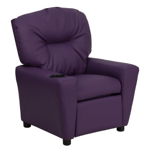 MFO Contemporary Purple Vinyl Kids Recliner with Cup Holder