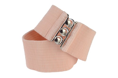 Square Up X-Large, Peach, 2.25 Inch Wide Elastic Fabric Stretch Cinch Belt with 3 Ring Clasp