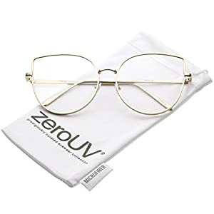 zeroUV - Women's Oversize Metal Frame Slim Arms Flat Lens Cat Eye Glasses 59mm (Matte Gold/Clear)