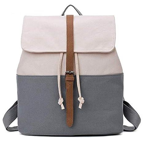 OneMoreT Mochila escolar de lona para adolescentes, niñas, mochilas femeninas, mochilas sólidas con patchwork, bolsa casual para mujer, gris: Amazon.es: ...